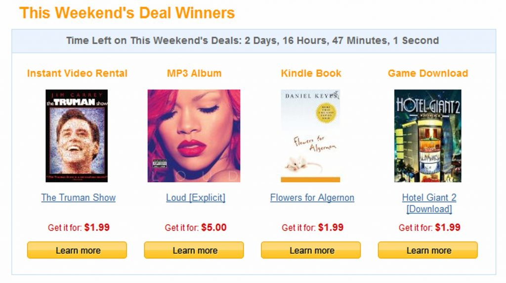 Amazon Weekly Digital Deals – The Winners Are In!