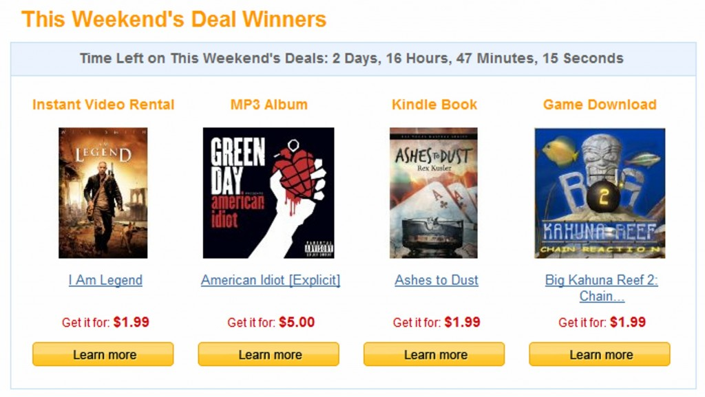 Amazon Weekly Digital Deals: The Winners!