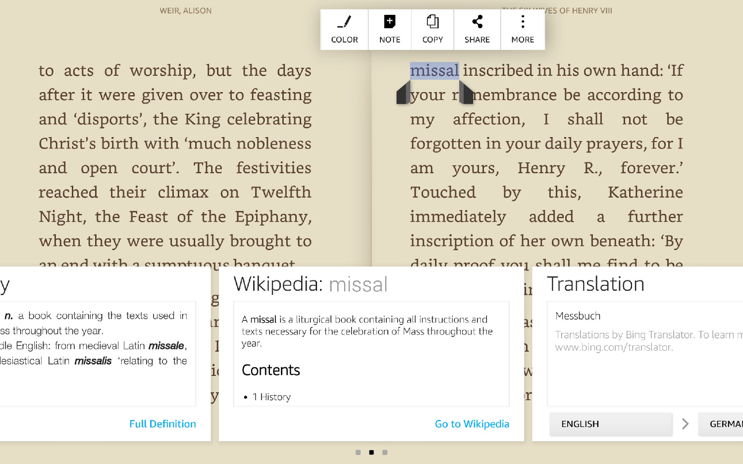 Kindle Book Tip: Wikipedia and Translator in Kindle Books